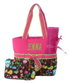 Hot Pink Owl Diaper Bag in with Free Embroidery by MonogramExpress, $29.00 - What an adorable gift for the mother-to-be! And with free embroidery, it's quite cheap too! Changing Pad & Cosmetic Purse Included!