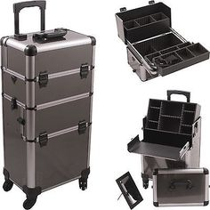 Professional-2-in-1-Rolling-Makeup-Train-Hair-Stylist-Case-4-Wheel-Organizer-NIB