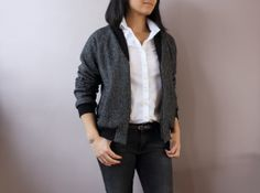 Rigel bomber de Papercut patterns en laine bouillie gris chiné