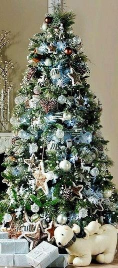 lots of ornaments, but neutral theme keeps it all looking unified