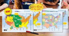 Trivium at the Table® placemats: Geography, Cycle 3 have just arrived! With these colorful placemats, your little ones can learn geography while they snack and play. This set corresponds to the Foundations 4th edition, Cycle 3.