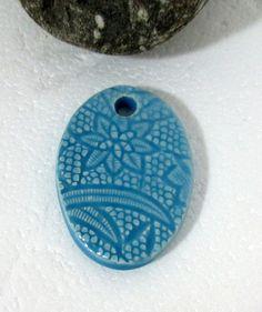 Handmade Ceramic Pendant Lace print-ceramics and by nazsCERAMICS