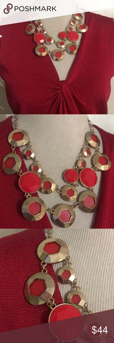KATE SPADE BUBBLE NECKLACE Stunning bright red with gold necklace in excellent condition! kate spade Jewelry Necklaces