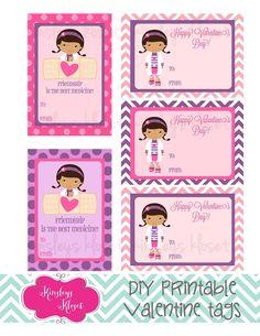 Printable Doc McStuffins Valentine Cards Valentine Tags Girls Doc McStuffins