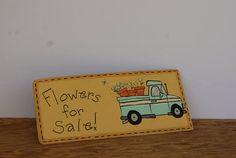 Vintage Trowel, Little Blue Truck Decor, Hand Painted Trowel Decoration, Flowers For Sale Decor, Spring Decor, Garden Decor, Pickup Truck