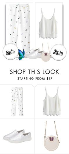"""SheIn 6/3"" by goldenhour ❤ liked on Polyvore featuring Chicwish, bag, flats, Sheinside, pants and shein"