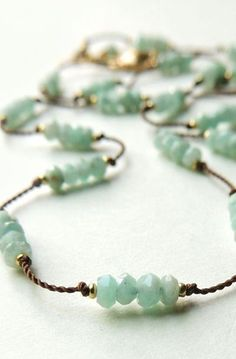 Drift Necklace with Faceted Amazonite Hand Knotted on Silk Cord #beadednecklace