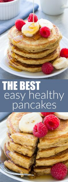 Tried and True Best Easy Healthy Pancake Recipe! This simple batter makes light and fluffy pancakes and delicious waffles, too! Made with honey, whole wheat and refined sugar free!   www.kristineskitchenblog.com
