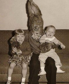 For decades children have been forced to take awkward photos with scary looking Easter Bunnies. Description from scare-zone.com. I searched for this on bing.com/images