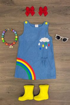 Denim Rainbow Dress - Sparkle In Pink Dresses Kids Girl, Little Girl Outfits, Toddler Girl Outfits, Toddler Fashion, Boy Outfits, Kids Fashion, Girls, Boys Fashion Dress, Rainbow Outfit