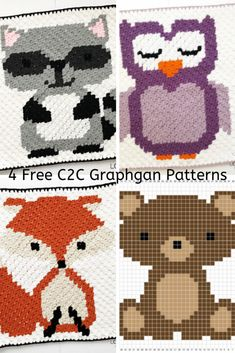 4 Free Graphgan Patterns Featuring Woodland Animals (Raccoon, Fox, Owl & Bear) - Knit And Crochet Daily Crochet Afghans, Crochet C2c Pattern, C2c Crochet Blanket, Crochet Fox, Crochet Chart, Crochet Blanket Patterns, Softie Pattern, Stuffed Animal Patterns, Woodland Animals