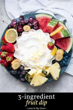 Jazz up a plate of fruit with this easy yogurt fruit dip! This 3 ingredient fruit dip is a healthy fruit dip that\'s the perfect compliment to all sorts of fruits! // Greek yogurt fruit dip // easy fruit dip recipe Punch Recipes, Jam Recipes, Other Recipes, Sweet Recipes, Yummy Recipes, Yummy Food, Tasty, Full Fat Yogurt, Greek Yogurt