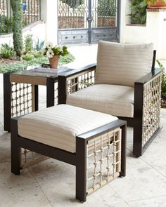 """Marina"" Outdoor Lounge Chair & Ottoman at Horchow."