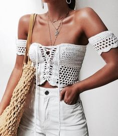 Cute crochet top with white jeans.