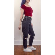 Size 11 High Waist 90's Charcoal Gray Shredded by TheCosmicCircle