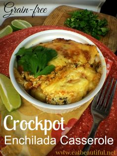 Who doesn't love coming home to something piping hot, creamy and delicious after working all day? With just a little forethought, to make the components, you can have a savory, indulgent Mexican feast made from whole foods waiting for you.  This recipe is for the slow-cooker. But, of course, the assembly can be easily adapted for a casserole baked in the oven. See my Oven Variation below.