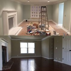Bottom photo is before, Top photo is the beginning of renovation.Took the dark taupe walls to a light color called Sea Salt, painted the brick fireplace and are adding recessed lighting