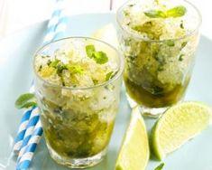Granité sans sucre menthe-citron : http://www.fourchette-et-bikini.fr/recettes/recettes-minceur/granite-sans-sucre-menthe-citron.html