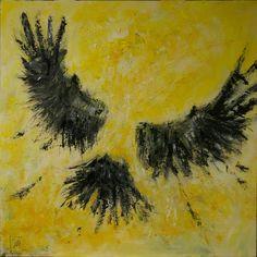 Kraaienportret, vliegen in de zon acryl op paneel, 70 x 70