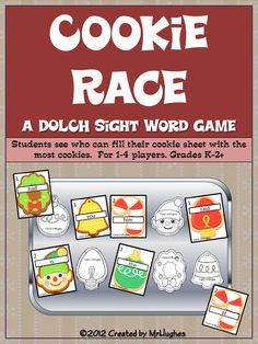 Your students are going to enjoy this scrumptious cookie race game as they race to see who can cover all the spaces on their cookie sheets first!    This game covers the first 120 DOLCH sight words in order of decreasing frequency. ($)