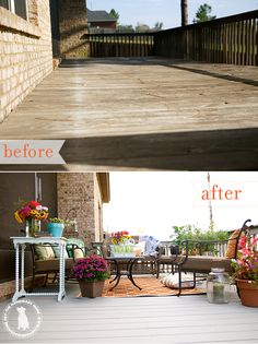 the back porch makeover {before & after} - with the fantastic @cabotstain ;}