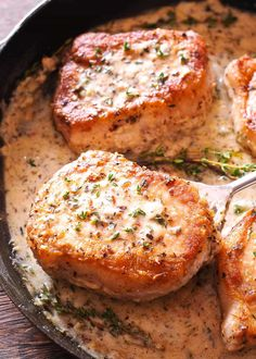 Boneless Pork Chops in Creamy Garlic and Herb Wine Sauce - What's In The Pan?