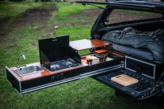 Click this image to show the full-size version. Truck Bed Camping, Jeep Camping, Camping Life, Camping Cooking, Pickup Camping, Camping Beds, Camping Kitchen, Car Camper, Camper Trailers