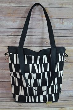 Perfectly Slouchy Black and White Purse / made in America by DarbyMack