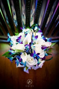 Wedding bouquet idea. Love love love the blue with the purple and white.  Classic but colorful
