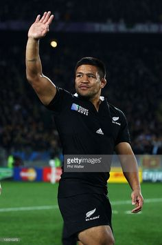 Keven Mealamu of the All Blacks waves to the fans during the 2011 IRB Rugby World Cup Final match.