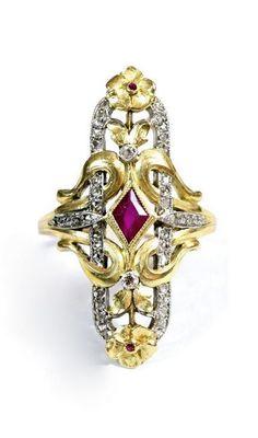Art Nouveau Ring. Ruby, rose-cut diamond 18k Silver. France 1890-1900.