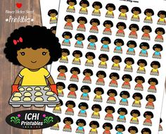 Baking Girl Printable Planner Stickers, Baking Planner Stickers, Home Bakery Stickers, Muffin Girl, Black Girl, African American, Functional Stickers by Ichiprintables