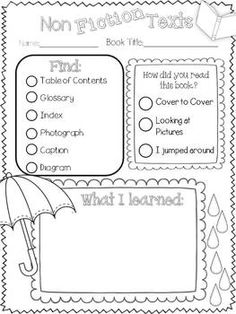 Nonfiction text feature hunt worksheet costs $ on TPT, but easy enough to make my own.
