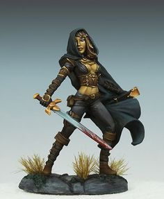Female Assassin, sculpted by Jeff Grace and painted by Jessica Rich. The miniature is available from Dark Sword Miniatures, one of my favorite miniature companies.