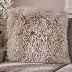 Everly Quinn Kingstowne Shaggy Lamb Fur Throw Pillow Color: Light Gray, Size: x Japanese Bedroom, Fur Throw Pillows, Cozy Room, Lamb, Size 16, Room Ideas, Gray, Color