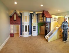 Classic Storefront Playhouse - Designed by Tanglewood Design Dream Rooms, Dream Bedroom, Kids Bedroom, Indoor Playhouse, Build A Playhouse, Home Daycare, Toy Rooms, Indoor Playground, My New Room