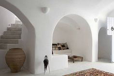 Villa Ares, in Santorini, Cyclades, Greece. #interior #greek #white