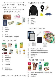 Easy packing list for flight travel< add empty waterbottle and earbuds
