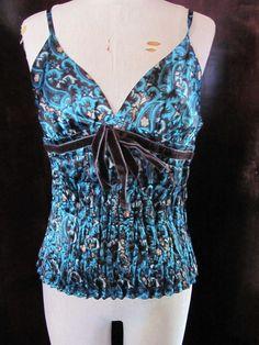 Moda International Blue Brown Satin Paisley Pleated Cami Large #ModaInternational