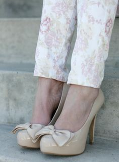 Floral jeans and bow heels