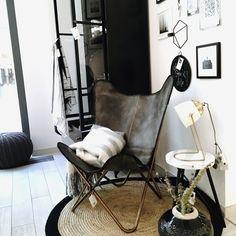Butterfly Chair In Echtleder U2013 Vintage Grau U0026 Kupfergestell | STIL