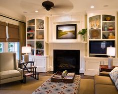 build-in   bookshelves and cabinet -   Lorraine Vale traditional living room