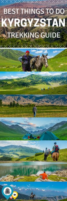 10 things to do when trekking in Kyrgyzstan. Start and end your trip in the capital city of Bishkek. Make a stop at the world's second largest saline lake, Issyk Kul and take part in the culture of the people by taking part in a Dungan family dinner. Spend a night in a yurt or experience the beautiful landscapes of Kyrgyzstan on a horse. Adventure travel in Central Asia. | Back-packer.org #Kyrgyzstan