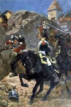 Combat between French Dragoons and British infantry at Hougoumont, Waterloo- by Richard Caton Woodville