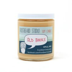 Old Books -- Book Lovers Scented Soy Candle -- 8oz jar (for my sister, who loves sniffing books)