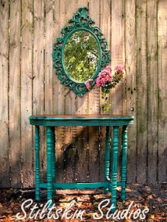Love the new ASCP color Florence!  Especially on this lovely entry table and mirror by Stiltskin Studios.