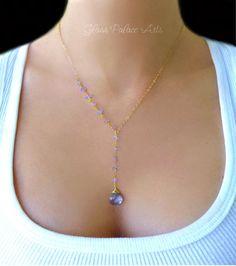 Tanzanite Necklace, Gemstone Y Necklace, Gold Gemstone Necklace, December Birthstone Necklace, Tanzanite Jewelry, Periwinkle Wedding Jewelry