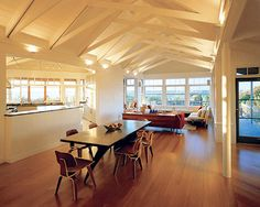 Back lit scissor trusses.  contemporary dining room by Doreen Le May Madden