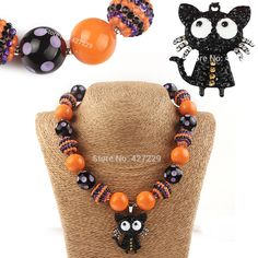 Cheap jewelry necklace organizer, Buy Quality jewelry turkish directly from China necklace america Suppliers:  1Pcs Black Cat Pendant Bead Chunky Necklace Kids Little Girls Baby Toddler Halloween Bubblegum Jewelry Children Party D