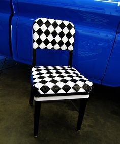 Woven Duck Tape Chair, made with black and white duck tape on an 1970s office chiar